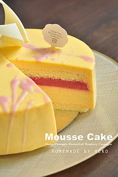 Summer Cake (by Reko with summer fruit mousse cake) - Recipe Collection in YYZ Mango Mousse Cake, Mango Cake, Sweet Recipes, Cake Recipes, Dessert Recipes, Desserts, Bavarois Recipe, Cakes For Sale, Decoration Patisserie