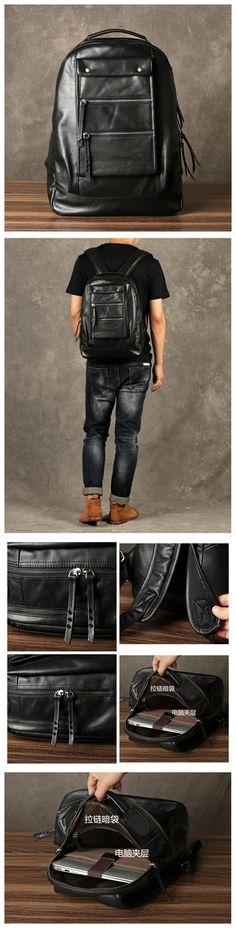 Travel Leather Backpack, Mens Backpack, Fashion Design GZ064