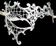 Mardi Gras Makeup!!~ White Asymmetrical Metal Mask with Swarovski Crystals