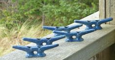 "4"" CLEAT Lot of 5 Galvanized Chock Boat Ship Dock Decor Sailboat Hardware Blue"