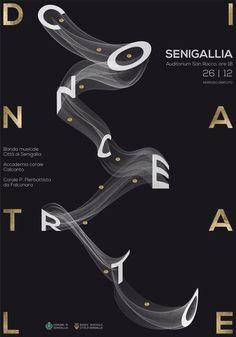 poster design (Concerto di Natale 2017 on Behance) Type Posters, Graphic Design Posters, Graphic Design Typography, Graphic Design Inspiration, Typo Design, Book Design, Layout Design, Typographic Poster, Typography Logo