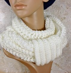 White Infinity Wrap, Scarf, Cowl or Off Shoulder Stole, Hand Crochet by CuriousPurplePig