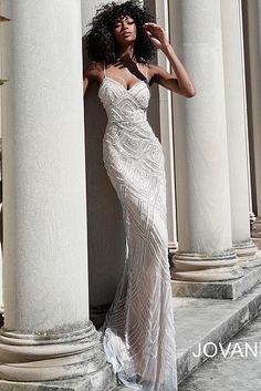 Beaded V Neck Jovani Prom Dress 60653 Prom Dresses Jovani, V Neck Prom Dresses, Ivory Dresses, Formal Dresses, Wedding Dresses, Fitted Skirt, Pageant, Lilac, Bridal