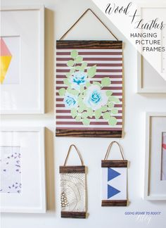 make your own wood + leather hanging picture frames!