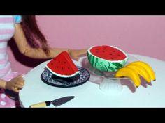Como fazer banana e melancia (frutas) para boneca Barbie e outras - miniatura - YouTube