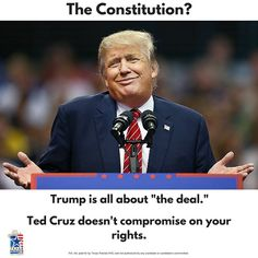 Which of your rights are negotiable to Donald Trump? The 2nd Amendment? Right to life? Property rights? We get it, you think he's cool. But you don't have to question where Ted Cruz stands on the Constitution and the Bill of Rights. Let's send a Texan to restore constitutional conservatism to the White House.