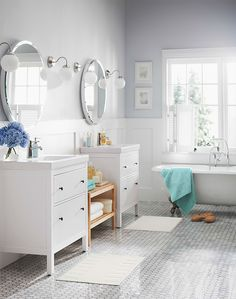 HEMNES/ODENSVIK vanity combination with 2-drawers