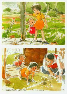 Hayao Miyazaki, Studio Ghibli, My Neighbor Totoro, The Art of My Neighbor Totoro, Tatsuo Kusakabe Studio Ghibli Art, Studio Ghibli Movies, Hayao Miyazaki, Manga Art, Anime Art, Personajes Studio Ghibli, Howl's Moving Castle, Anime Bebe, Japon Illustration