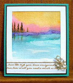 """Sunset by the Lake; Watercolor on Canva-Paper 