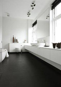 Dark floor with white furniture