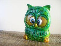 Vintage Green Ceramic Owl, so cute! Owl Always Love You, Ceramic Owl, Owl Crafts, This Little Piggy, Wise Owl, Owl Art, Vintage Green, Whimsical, Piggy Banks