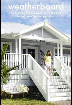 """Gable with weatherboard in center and wood trim without the gable """"stick thing"""" in the center. Also staircase entry Inspo and timber under decking"""