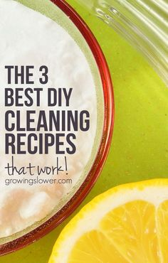 Ready to cut the chemicals from your cleaning routine? Try these 3 DIY Homemade Cleaning Recipes that really work! Includes instructions for making your own all purpose cleaner, glass cleaner, and tub and tile scrub.