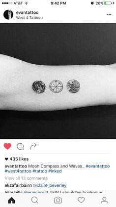 Moon tattoo. Compass tattoo. Wave tattoo. More