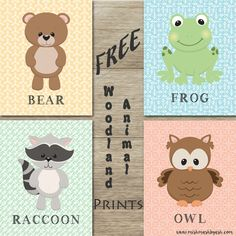 FREE woodland animal printables! Great for a nursery, playroom, dayhome, kindergarten decor ect!! www.mishmashbyash.com