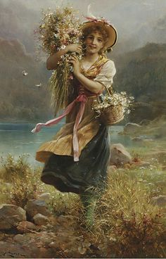 'The Flower Girl '- by Hans Zatzka  - Wonderful! <> (flickr, blooms, posies, blossoms)