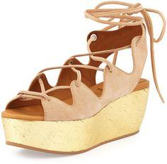 See by Chloe Liane Golden Cork Wedge Sandal, Nude