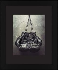 Boxing Gloves Framed Print, Black, Contemporary, Black, Black, Single piece, 11 x 14 inches, White
