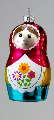 "3.5"" Daisy Floral Designed Matryoshka Russian Doll Glass Christmas Ornament Kurt Adler"