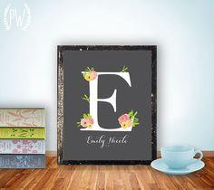 Nursery Letter Art Print Girl, Wall Decor, Nursery floral printable flower calligraphy monogram, Initial, custom digital via Etsy