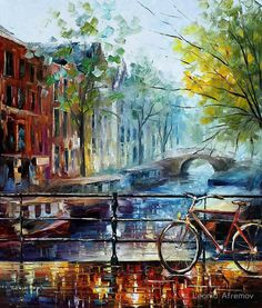 Amsterdam  - original oil painting on canvas by Leonid Afremov