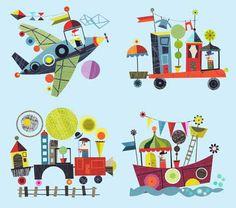 Ellen Giggenbach these would be so cute framed Boat Illustration, Graphic Illustration, Kids Poster, Kids Prints, Vintage Children's Books, Retro Art, New Work, Print Patterns, Paper Art