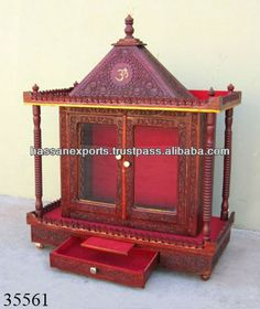 Wooden temple / Wooden Religious temple / Wooden indian temple for Home / Wooden painted temple / Hindu temple in pooja room
