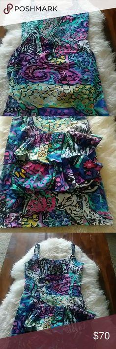Betsey Johnson bustle dress Amazing Betsey Johnson dress size small. Vivid bright colors and only worn 1 time! Betsey Johnson Dresses Midi
