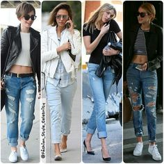TREND ALERTLATEST CELEBRITY SIGHTINGS IN 'BOYFRIEND JEANS'#LilyCollins #jessicaalba #KarlieKloss #GigiHadid #rippedjeans #boyfriendjeans #jeans #LeatherJacket #stripes #fashion #style #celebrity #hollywood #denim #beautiful #pretty #stylish #lookbook #look #ootd #outfit #heels #shoes #nofilter #girl #makeup... - Celebrity Fashion