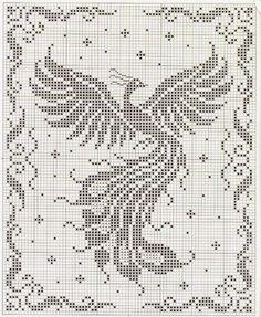 fenice punto croce filet | Hobby lavori femminili - ricamo - uncinetto - maglia