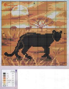 Panther sunset x-stitch Xmas Cross Stitch, Cross Stitch Pillow, Cross Stitch Bookmarks, Cross Stitch Borders, Cross Stitch Animals, Cross Stitch Charts, Cross Stitching, Cross Stitch Embroidery, Funny Cross Stitch Patterns
