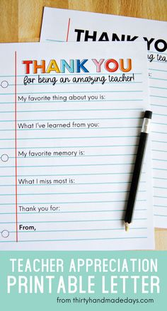 Print out this simple teacher appreciation letter and have your kids fill it out for their teachers.thirtyhandmad… The Effective Pictures We Offer You About funny A quality … Student Teacher Gifts, Teacher Cards, Teacher Quotes, Gifts For Students, Kindergarten Teacher Gifts, Best Teacher Gifts, Teacher Appreciation Letter, Letter To Teacher, Volunteer Appreciation