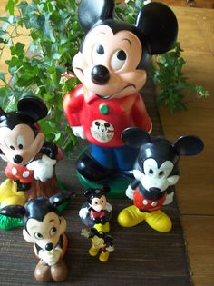 Lot of 6 Vintage Mickey Mouse Figures  Banks and More. $18.00, via Etsy.