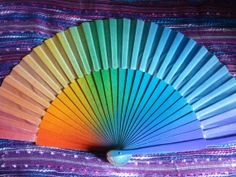 MADE to ORDER Large RAINBOW Hippie Flamenco by DengraDesigns, $24.95 Hand Held Fan, Hand Fan, Rainbow Fan, Types Of Hands, Hair Rubber Bands, Fan Decoration, Winter's Tale, Big Party, South Africa