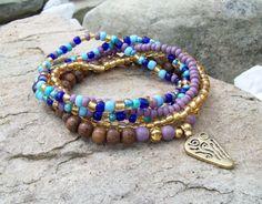 Blue and Purple Beaded Stretch Bracelet Stack - Gold Tribal Pendant Bracelet Stack with Czech Glass Colorful Set on Etsy, $26.00