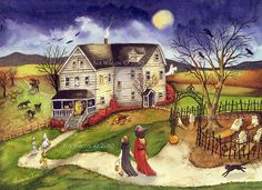 Halloween Trick or Treat - 9x12 Watercolor by Iva's Creations, via Flickr