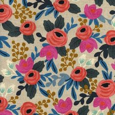 Rosa Floral in Natural CANVAS designed by Rifle Paper Co. for Cotton + Steel as part of the Les Fleurs collection