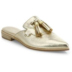 Stuart Weitzman Slidealong Tasseled Metallic Leather Mules Shoes ($425) ❤ liked on Polyvore featuring shoes, apparel & accessories, slip-on shoes, leather shoes, leather upper shoes, tassel shoes and leather mule shoes