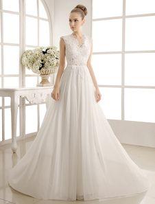 Vestido de noiva marfim linha-A em renda e chiffon com decote V transparência e laço ajustável
