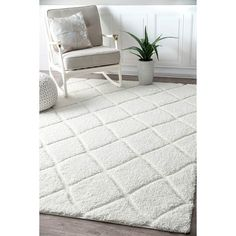 House of Hampton Hermione White Area Rug Rug Size: Runner x Le Cloud, White Runners, Polypropylene Rugs, Rectangular Rugs, Trendy Colors, White Area Rug, Line Design, Modern Contemporary, Rug Size