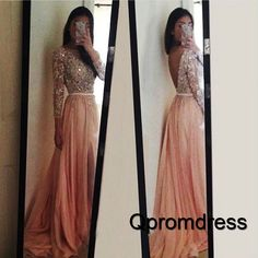 Cute backless sequins prom dress, ball gown, 2016 beaded chiffon long evening dress with sleeves