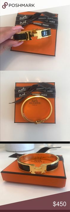 Hermes Enamel Narrow Clic Clac Bracelet Noir Hermes Enamel Narrow Clic Clac Bracelet (Noir/Black with Gold Color, GM Size). Great condition. Has scratches on hardware. Comes with Original box Hermes Jewelry Bracelets