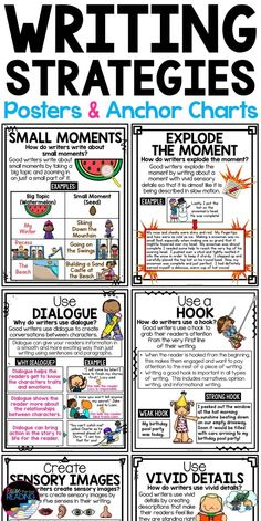 Writing mini lessons - Writing Strategies Posters, Anchor Charts & Writer's Notebook Sheets – Writing mini lessons Writing Strategies, Dialogue Writing, Fiction Writing, Writing Quotes, Sentence Writing, Writing Mini Lessons, English Writing Skills, Teaching Writing, English Writers