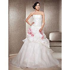A-line Strapless Chapel Train Taffeta And Organza Wedding Dress – USD $ 299.99