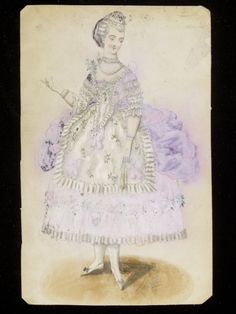 1860s design for an 18th-c.-style fancy dress costume, probably for the House of Worth. V&A.