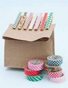 washi-ing no. 2 prettifying pegs Our what to do with washi tape series continues, and this idea is really easy and inexpensive. Cute Crafts, Crafts To Make, Crafts For Kids, Washi Tape Crafts, Paper Crafts, Washi Tapes, Craft Gifts, Diy Gifts, Diy Projects To Try