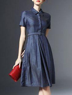 Dots Printed Denim Shirt Dress With Belt