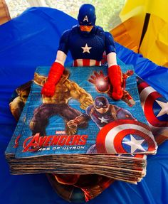 Captain America figure is great for holding napkins - Visit to grab an amazing super hero shirt now on sale! Avengers Birthday, Batman Birthday, Fourth Birthday, Superhero Birthday Party, 6th Birthday Parties, Birthday Fun, Super Hero Birthday, Birthday Ideas, Captain America Party