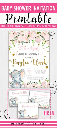 Elephant Baby Shower Invitation | Elephant Baby Shower Theme | Pink and Gold Baby Shower | Pink Elephant Floral Baby Shower | It's a Girl | Diaper Raffle | Book Request | Thank you Card | Perfect to match pink baby shower theme party.