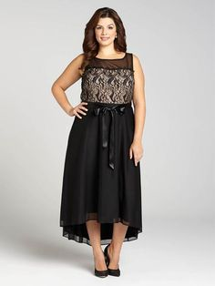 Laura Plus: for women size 14 . A gown that astounds: boasting a lace bodice and high-low hem, this gorgeous evening gown carries your style gracefully and beautifully. A waist sash ties your look together and gives you an oh-so flattering...5030103-8548